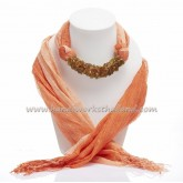 Orange Two Tone Scarf Decorated with Carnelian